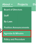 Agenda and Minutes Dropdown in About section